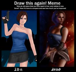 Draw this again meme - Jill Valentine by melremoart
