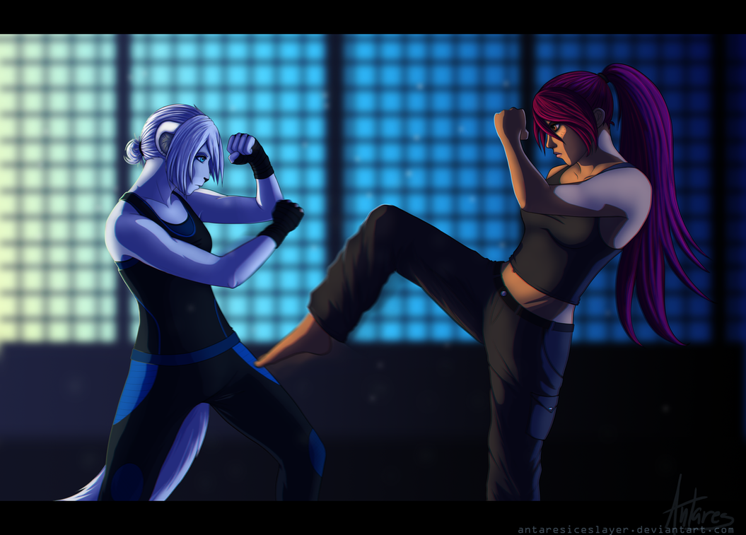 :ych: Fight by AntaresIceslayer