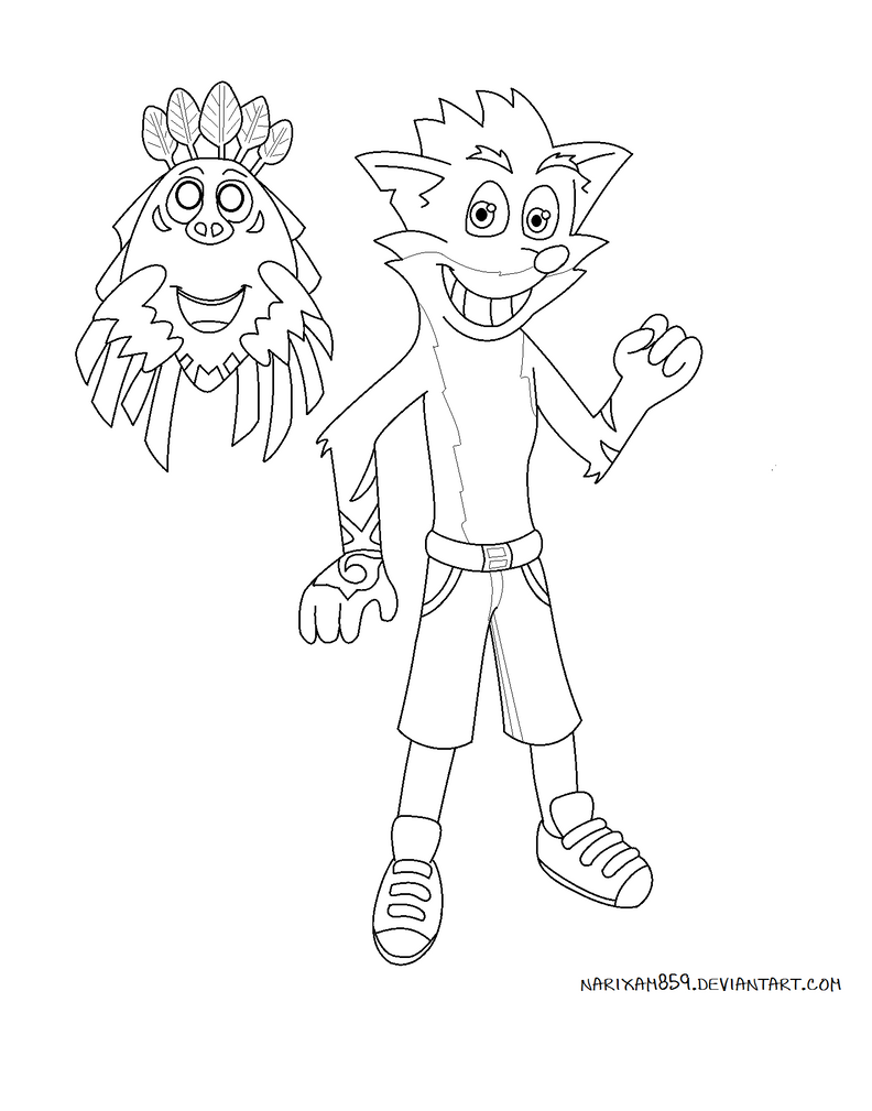 Crash bandicoot and aku aku by marythacake on deviantart for Crash bandicoot coloring pages