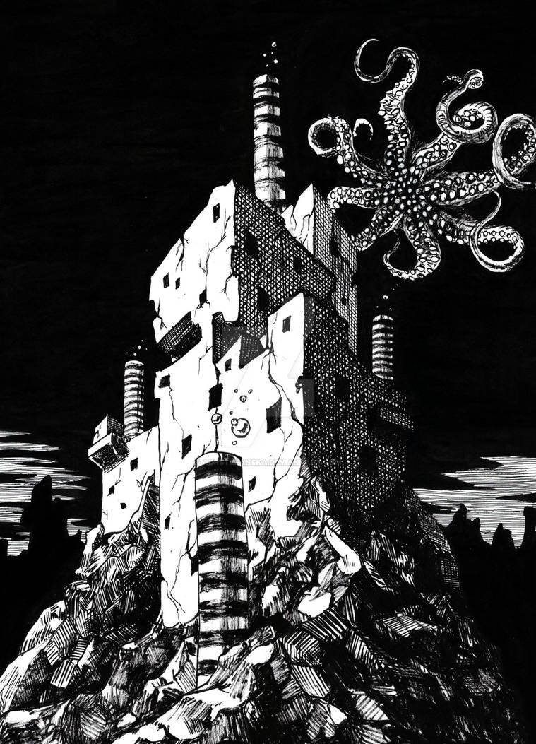 The monster attacks (Inktober day 2) by AdrStefanska