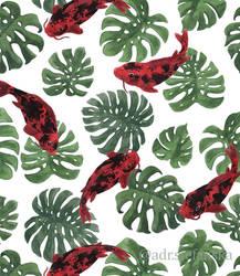 Monstera and koi pattern (Underwater Tropics 24)