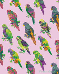 Dusty Pink and Parrots
