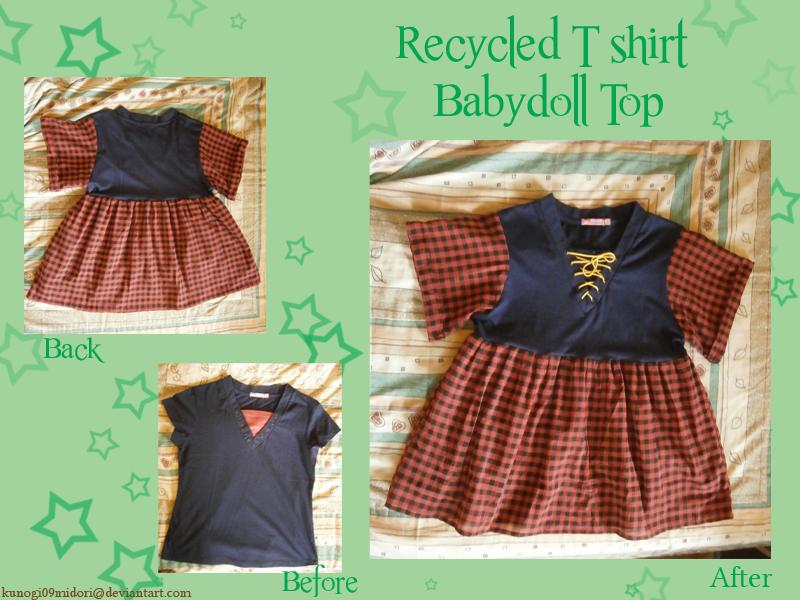 Recycled T-shirt Babydoll top by kunogi09midori