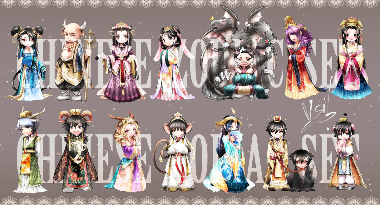commission LF-chinese zodiac set by V-Sil
