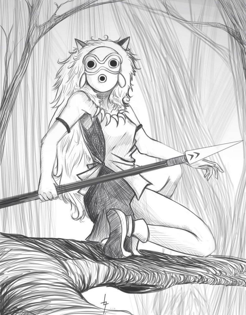fan art  mononoke princess by leo-g-l