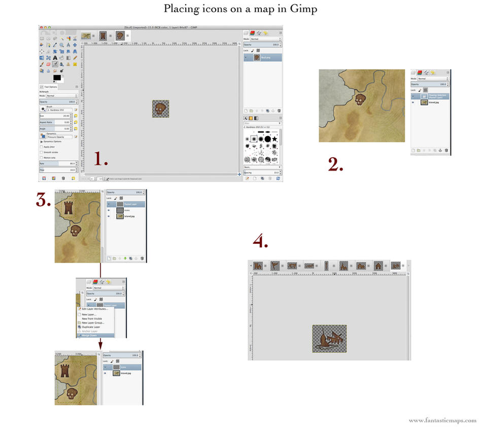 Placing icons on a map in Gimp by torstan
