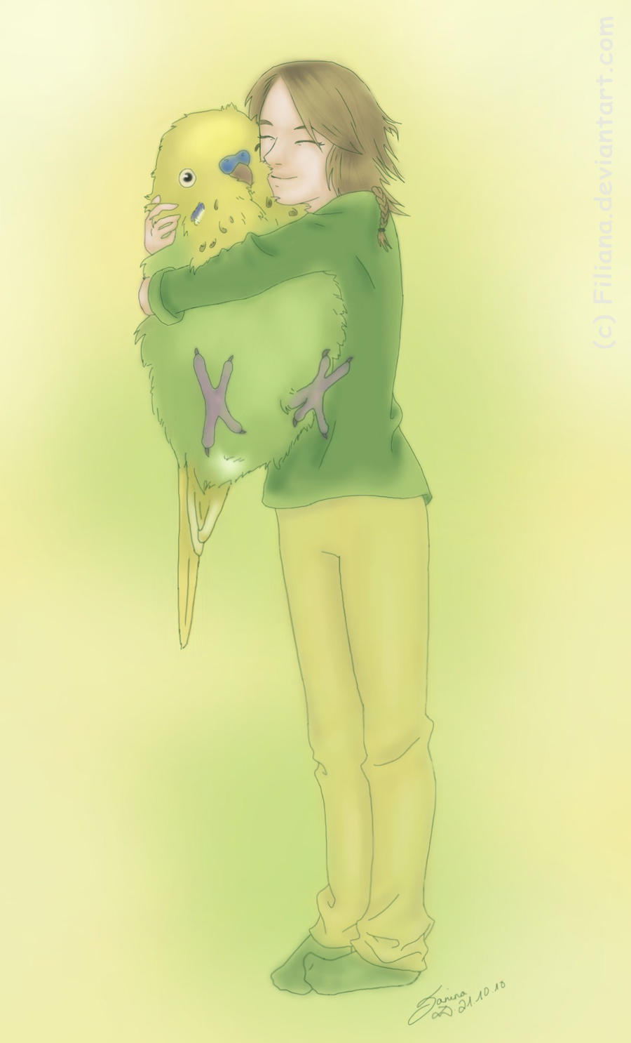 My budgie and me... by Filiana