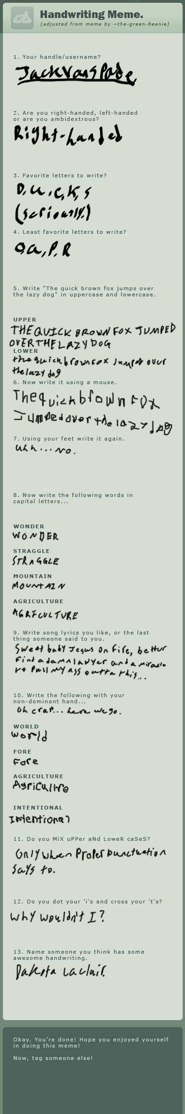 Handwriting meme! by JackVanSpade