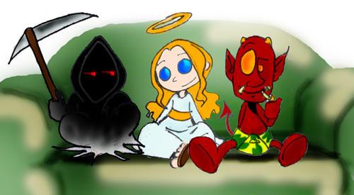 Death Satan and god by krystalia on DeviantArt