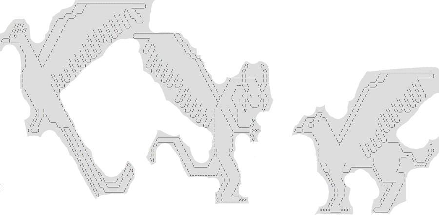 Dragon, Phoenix and Griffon Text Art by Shokirus