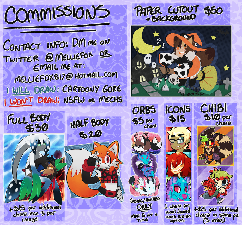 Commission Sheet!! by MellieFox