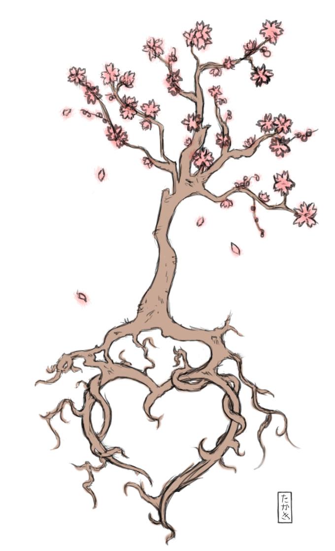Cherry Blossom Heart Tattoo by TakakiArts on DeviantArt