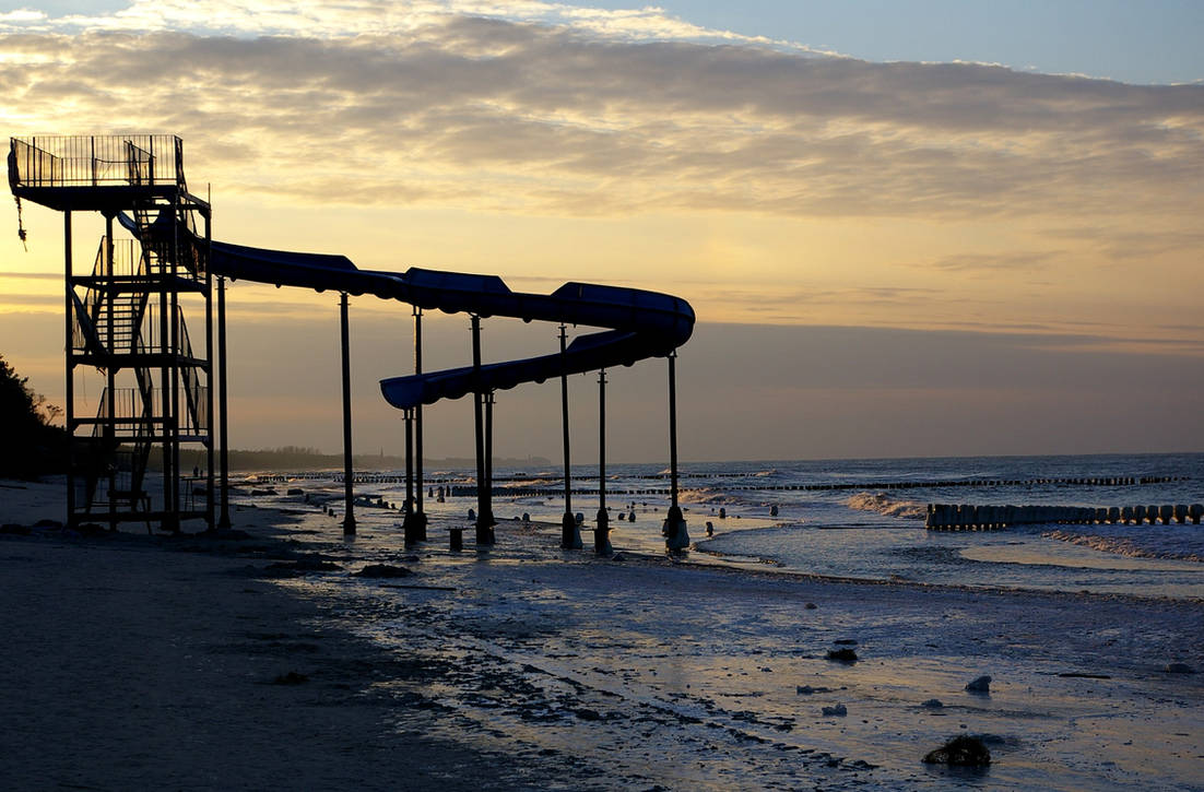 by the sea in the winter 2