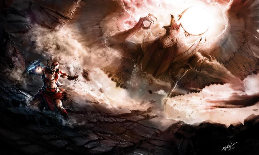 Kratos vs Ra by DiegooCunha on DeviantArt