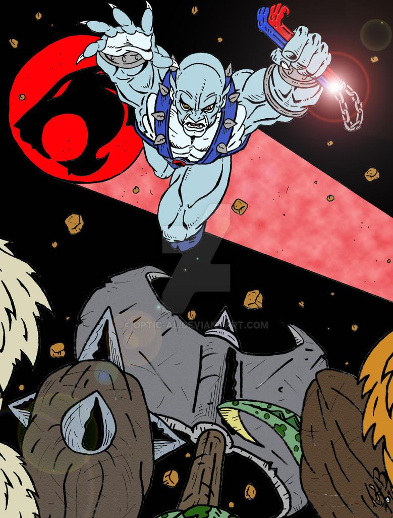 Panthro vs the Mutants color by Optic-AL