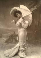 Lady and parasol by MementoMori-stock