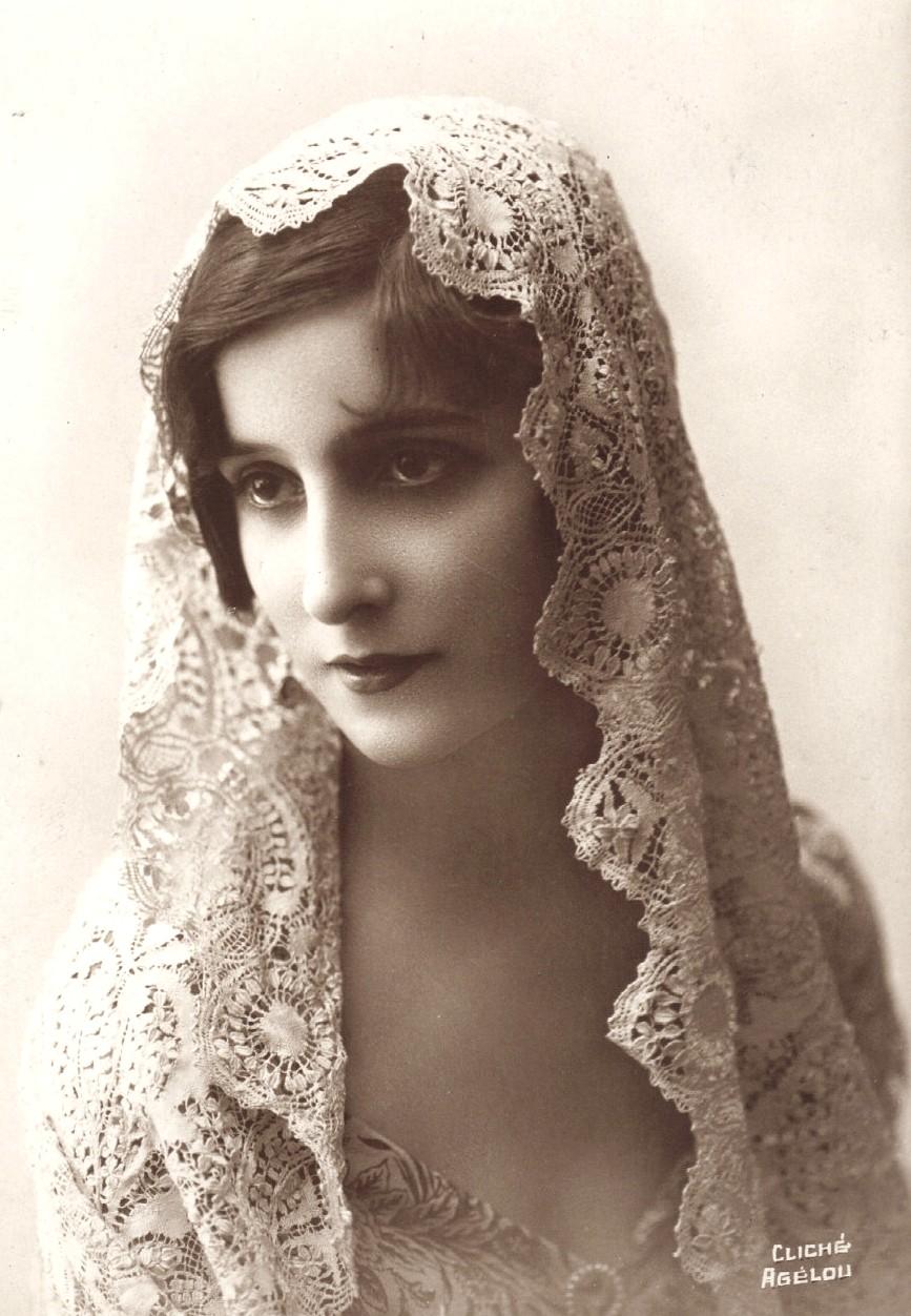 Vintage lady with Mantilla III by MementoMori-stock