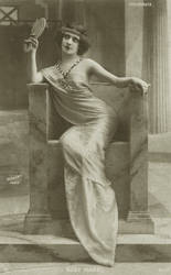 Vintage actress in a throne