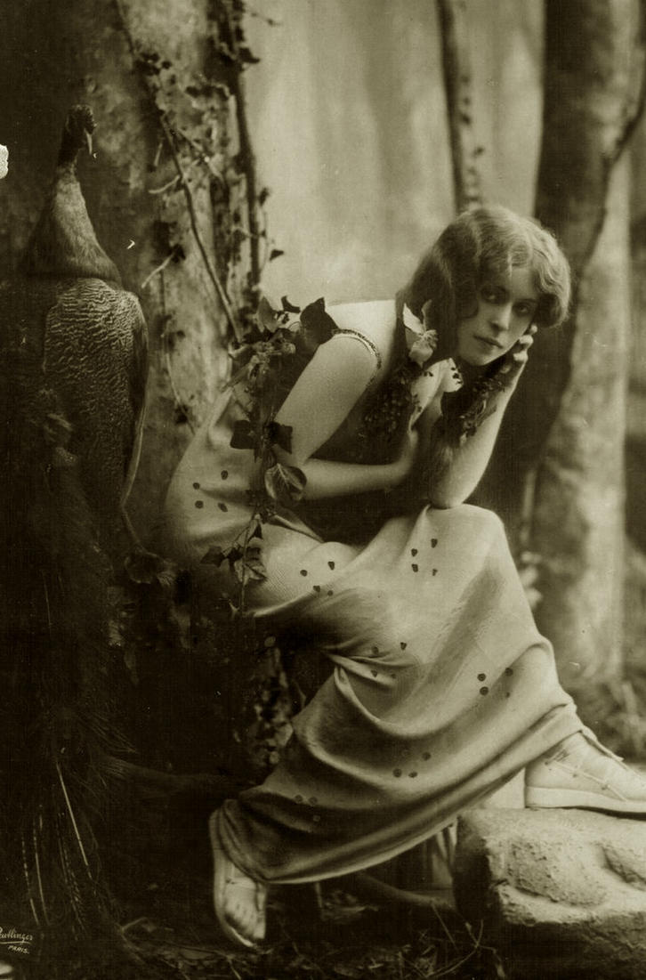 Vintage woman in the forest 001 by MementoMori-stock