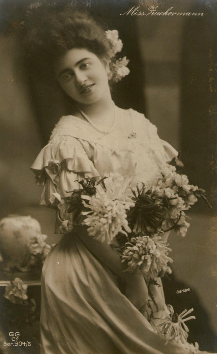 Vintage lady with flowers 0002 by MementoMori-stock