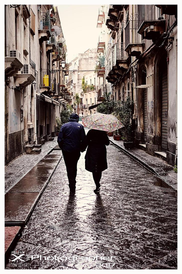 Rainy Day Lovers, Catania, Sicily by PicTd