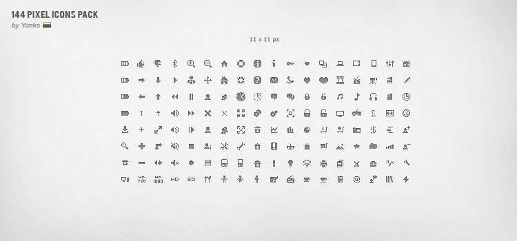144 Pixel Icons by yonko-design