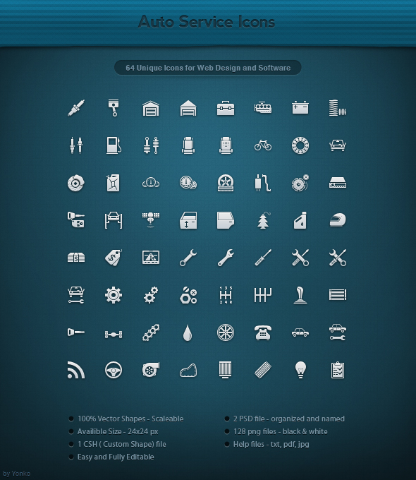 64 Auto Service Icons by yonko-design