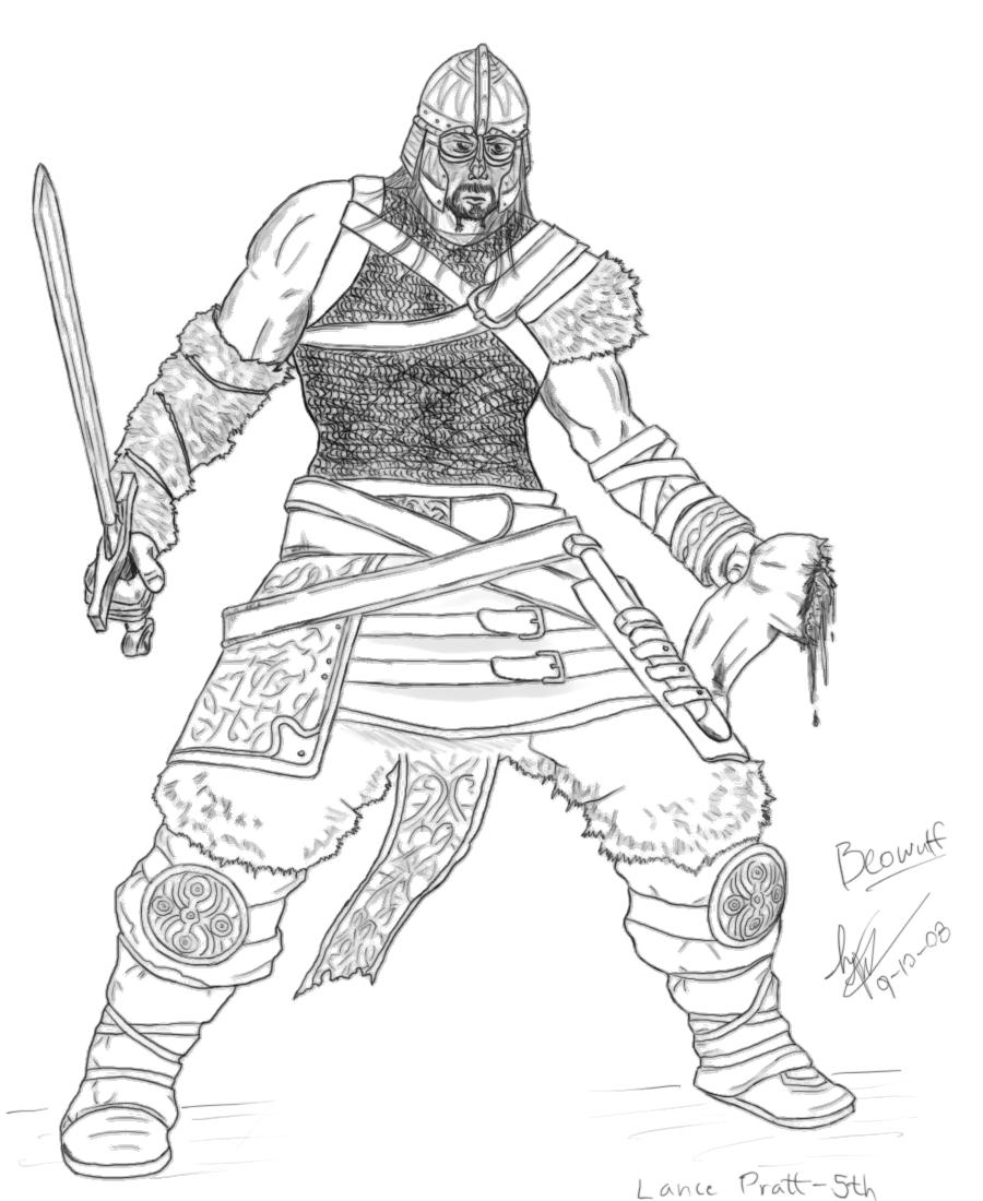 Beowulf Fighting Grendel Drawing | Drawings, Beowulf, Sketches |Beowulf Fighting Grendel Drawing