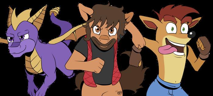 Jack, Crash, and Spyro (Commission)