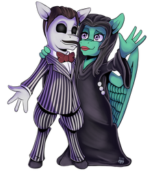 Jrog and Animelodie as the Addams (Commission)