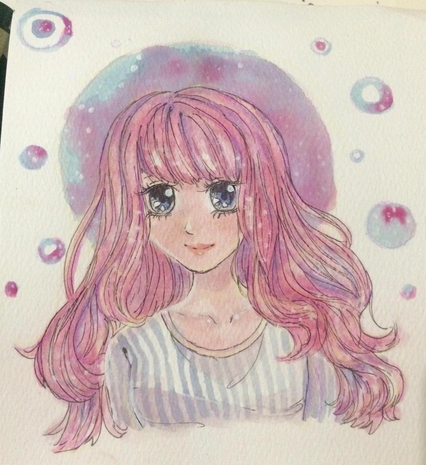 Watercolor Art Request- Juny by White-Lapen