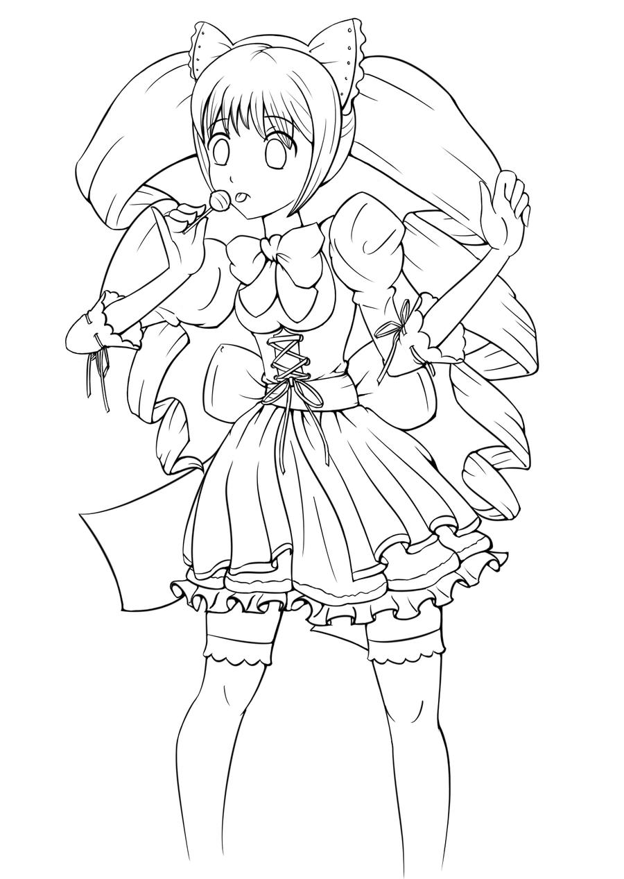 Maid Finished Lineart by CorneredBaka