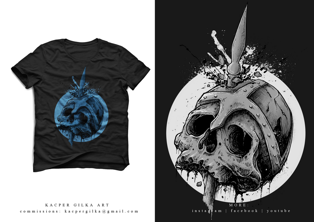 Skull on Spear tshirt design FOR SALE by KGArtDesign