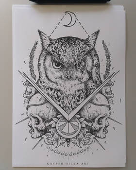 Owl and skulls