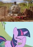 Twilight Sparkle facepalms at Thomas