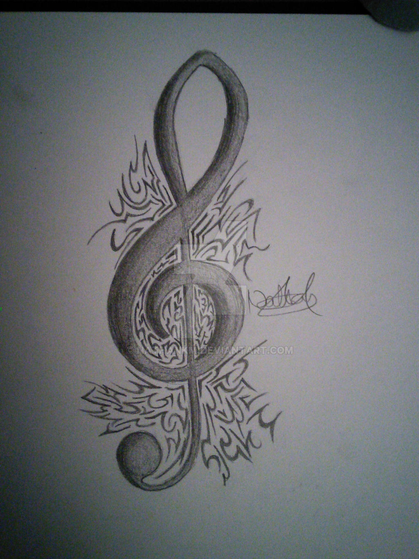 treble clef tattoo design by nathankm on deviantart. Black Bedroom Furniture Sets. Home Design Ideas