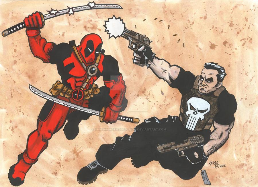 Punisher vs Deadpool by sevenpercentsolution