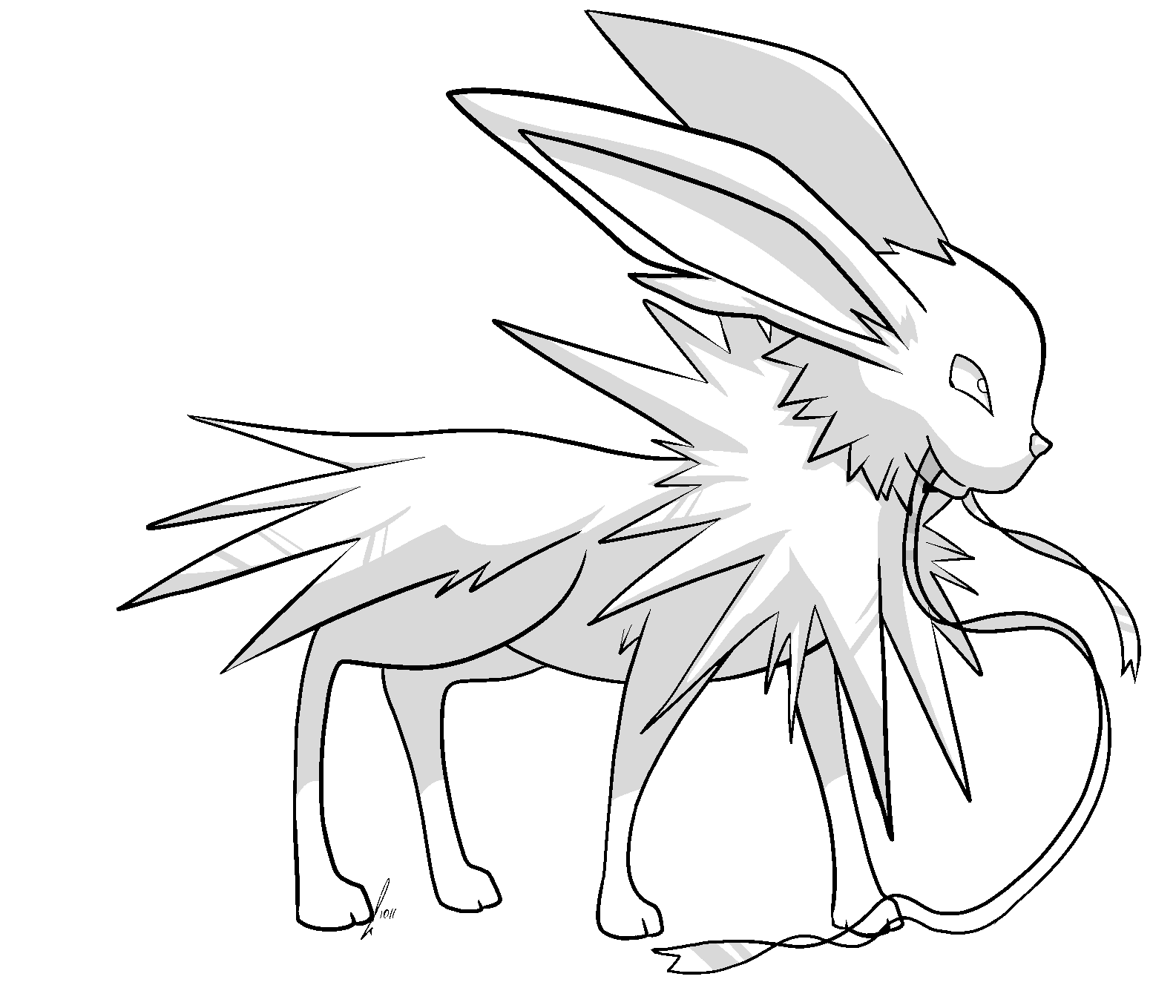 Uncategorized Jolteon Coloring Pages jolteon with ribbon lines by jaclynonacloudlines on deviantart jaclynonacloudlines