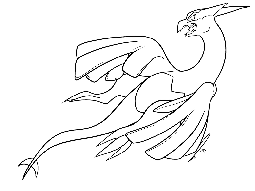 Pokemon Colouring Pages Lugia : Shadow lugia colouring pages