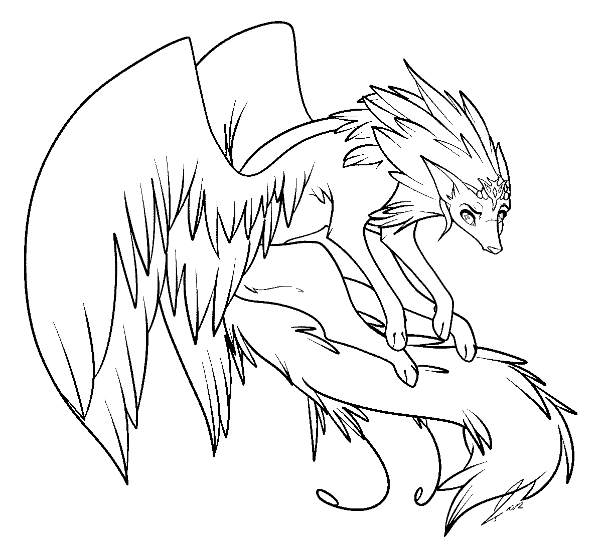 cloud template with lines - winged wolf lines by jaclynonacloudlines on deviantart