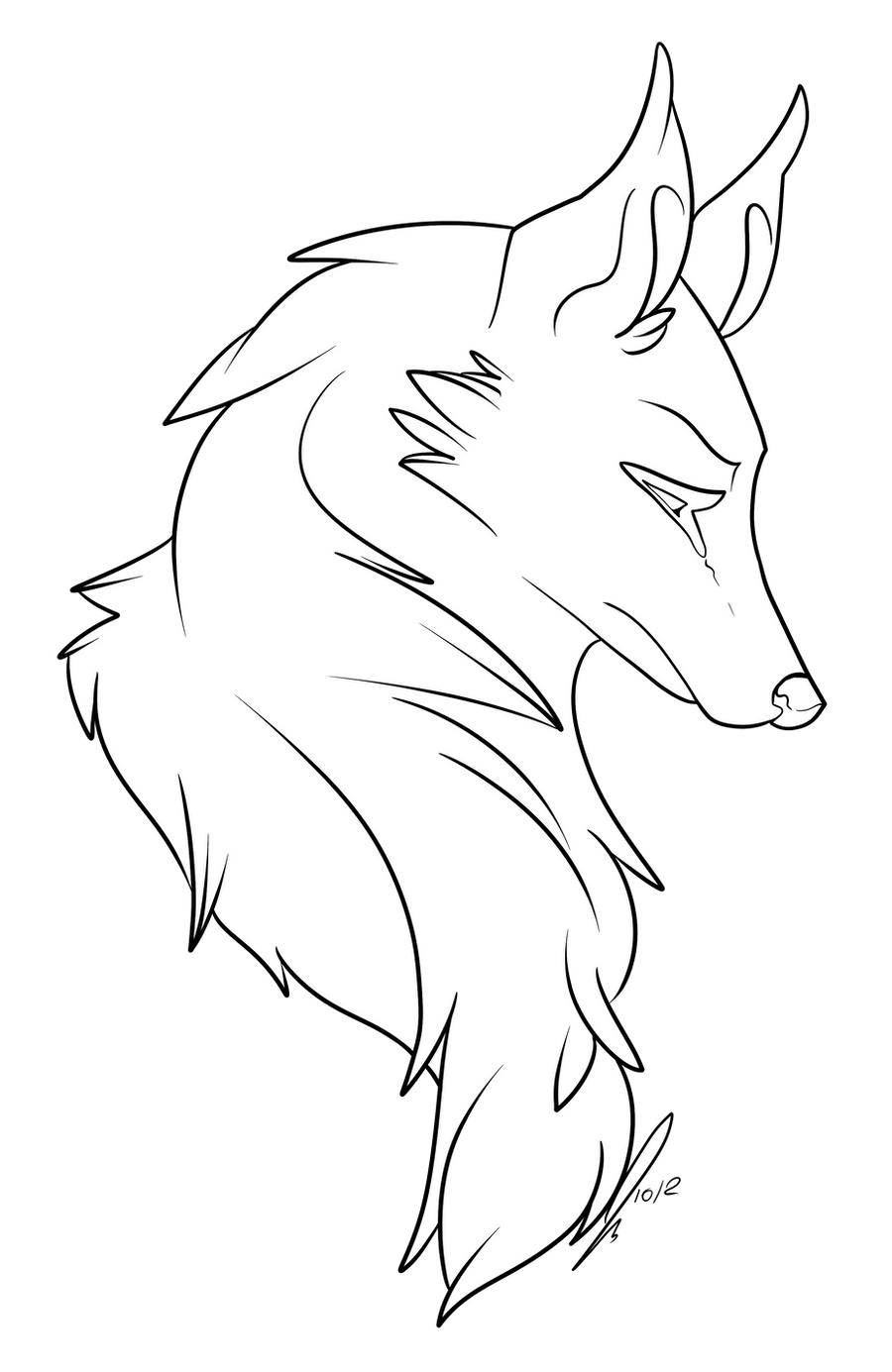 winged cat coloring pages - wolf bust lines by jaclynonacloudlines on deviantart
