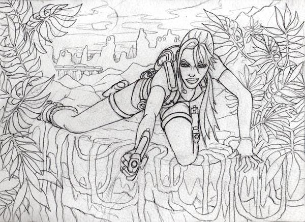 Line Art Jungle : Jungle cliff top line sketch by kissbite on deviantart