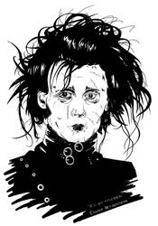 Edward Scissorhands Black n White portrait.