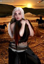 Daenerys Targaryen in the Red Waste - Dragon Hug by Sara-Croft