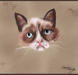 Painting Cat Grumpy by gatadaay