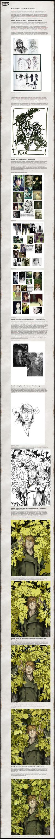 Autumn Man Digital Illustration Process by kellistrator