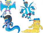 Sam, Benny, Maggie, Chaz, Monster forms.