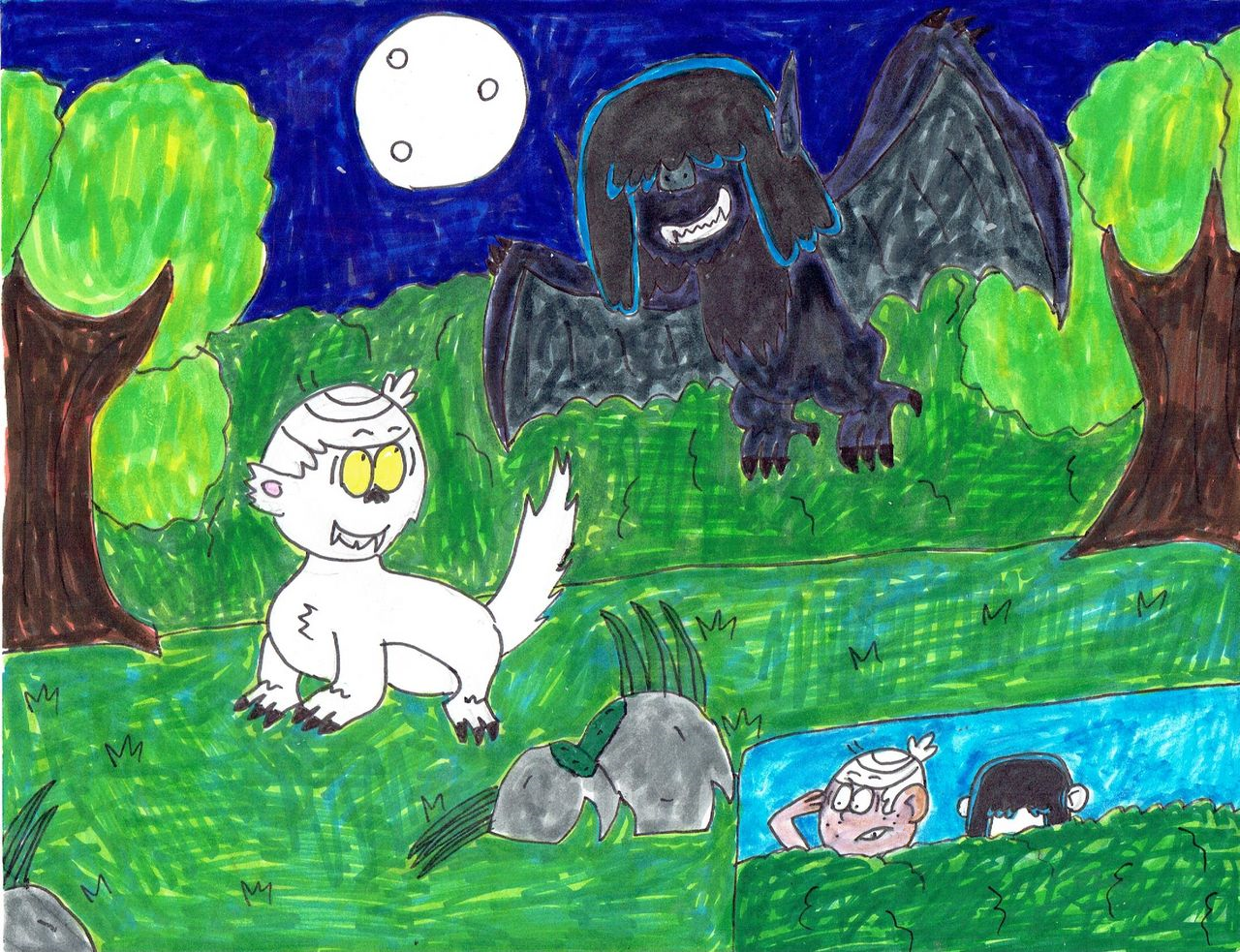 Werewolf Lincoln and Werebat Lucy