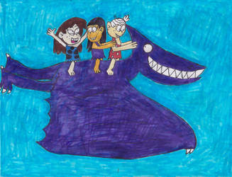 Lincoln Ronnie-Anne and Sid riding a pterodactyl by Bry-Guy