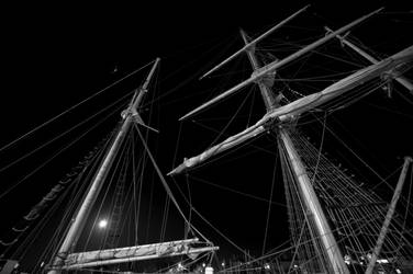 Masts by moonlight